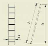 Alve FORTE 8108 jednoduchý opěrný žebřík 241 x 34 cm / 8 příček