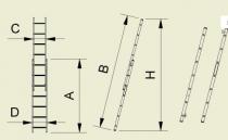 Alve FORTE 8208 stupnicový žebřík 241 x 34 cm / 8 příček