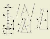 Štafle Alve EUROSTYL 7608 trojdílný univerzální žebřík 230 x 45,4 cm / 3 x 8 příček