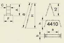 Štafle Alve FORTE 4413 čtyřdílný kloubový žebřík 1,23 x 35 cm / 4 x 4 příček