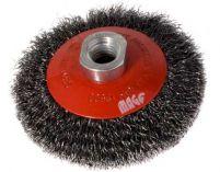 Miskový ocelový kartáč 100mm, vlnitý drát S 0.30, závit M14x2