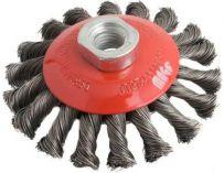 Miskový ocelový kartáč copánkový 100mm, S 0.50, závit M14x2