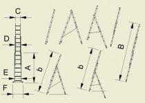 Štafle Alve EUROSTYLE 7807 trojdílný univerzální žebřík s úpravou na schody 201 x 45,4 cm / 3 x 7 příček
