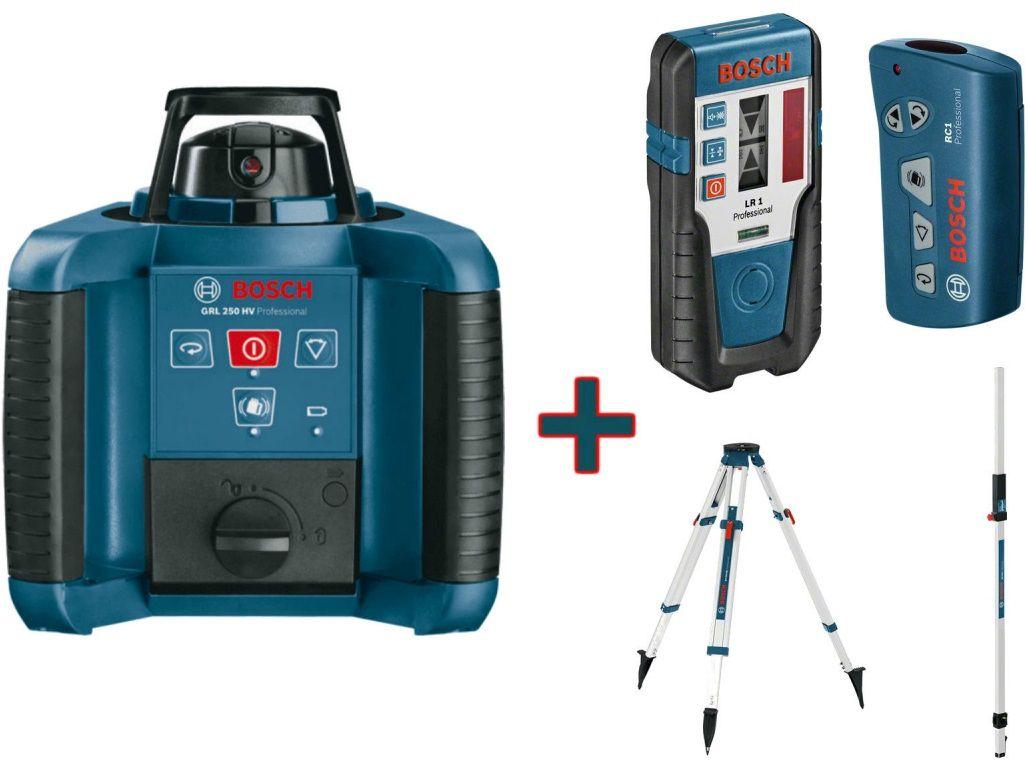 Bosch GRL 250 HV Professional rotační laser + dálkové ovládání RC1 + nivelační lať GR 240 + stativ BT 170 HD + přijímač LR1 (0601061600)