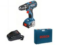 Bosch GSB 18-2-LI Plus Professional - 2x 18V/2.0Ah, 63Nm, 2 rychl., 1.54kg, kufr, aku vrtačka s příkl.