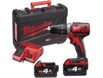Milwaukee M18 BLPD-402C - 2x 18V/4.0Ah, 60Nm, 2 rychl., 2.1kg, kufr, aku vrtačka s příklepem