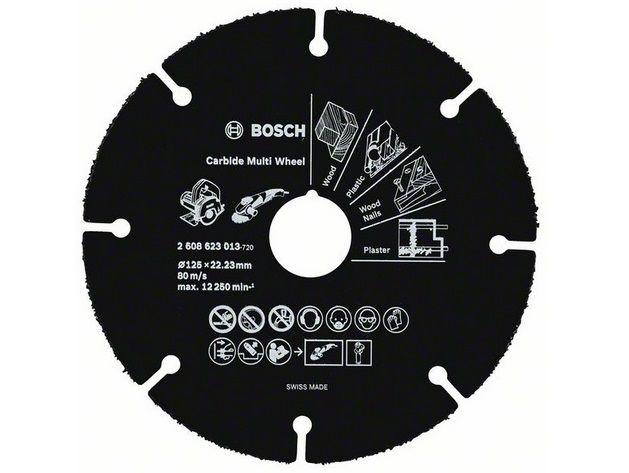 Karbidový řezný kotouč z tvrdokovu Bosch Carbide Multi Wheel na DŘEVO, PLASTY a HŘEBÍKY do úhlové brusky 125 mm x 22.23 mm (2608623013)