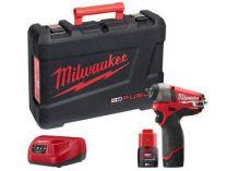 Milwaukee M12 CIW14-202C - 2x 12V/2.0Ah, 56Nm, 1kg, aku rázový utahovák s přesným kroutícím momentem