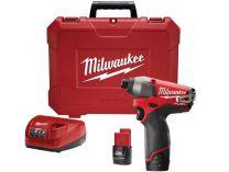 Milwaukee M12 CID-202C - 2x 12V/2.0Ah, 135Nm, kufr, aku rázový utahovák s přesným kroutícím momentem