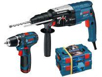 Bosch GBH 2-28 DFV Professional + GSR 10,8-2-LI (2x aku 1,5Ah) + 2x L-Boxx