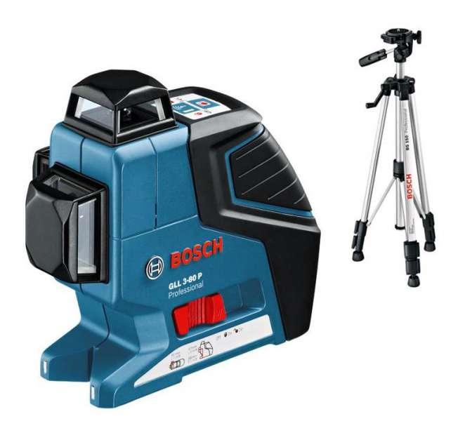 Bosch GLL 3-80 P Professional Křížový laser + Stavební stativ BT 150 Professional (0601063306)