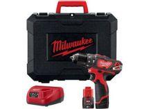 Milwaukee M12 BPD-202C - 2x 12V/2.0Ah, 30Nm, 2 rychl., 1.2kg, kufr, aku vrtačka s příklepem