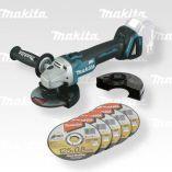 Aku úhlová bruska Makita DGA504ZX1 - 125mm, 18V, 2.5kg, 5x kotouč, bez akumulátoru a nabíječky
