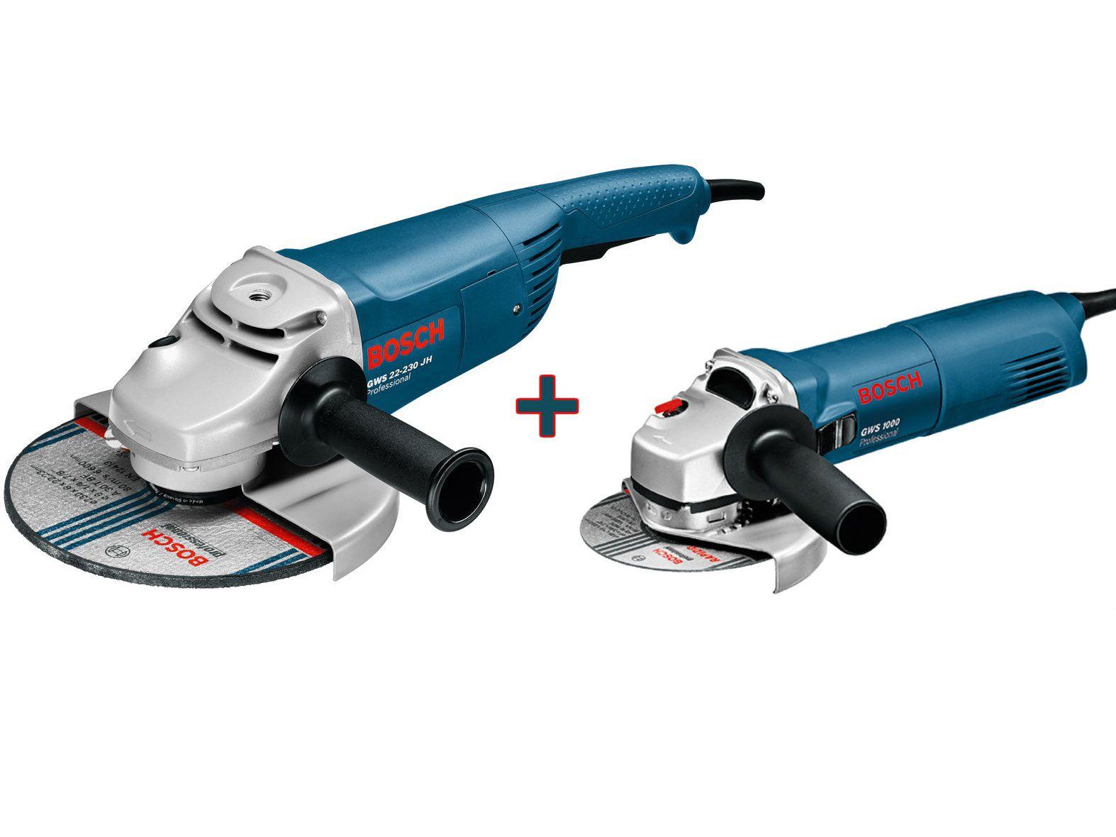 Úhlová bruska Bosch GWS 22-230 JH Professional, 230mm, 2200W + Úhlová bruska Bosch GWS 1000 Professional, 125mm, 1000W (0615990H1X)
