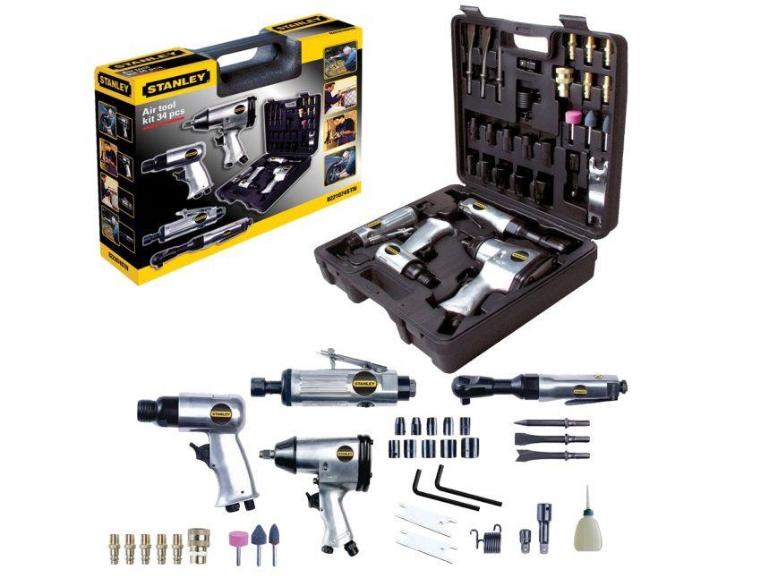 """34-dílná sada nářadí STANLEY 8221074STN Multi Kit Box - 1/2"""" rázový utahovák, pneumatické kladivo, bruska + příslušenství, v kufru (8221074STN)"""