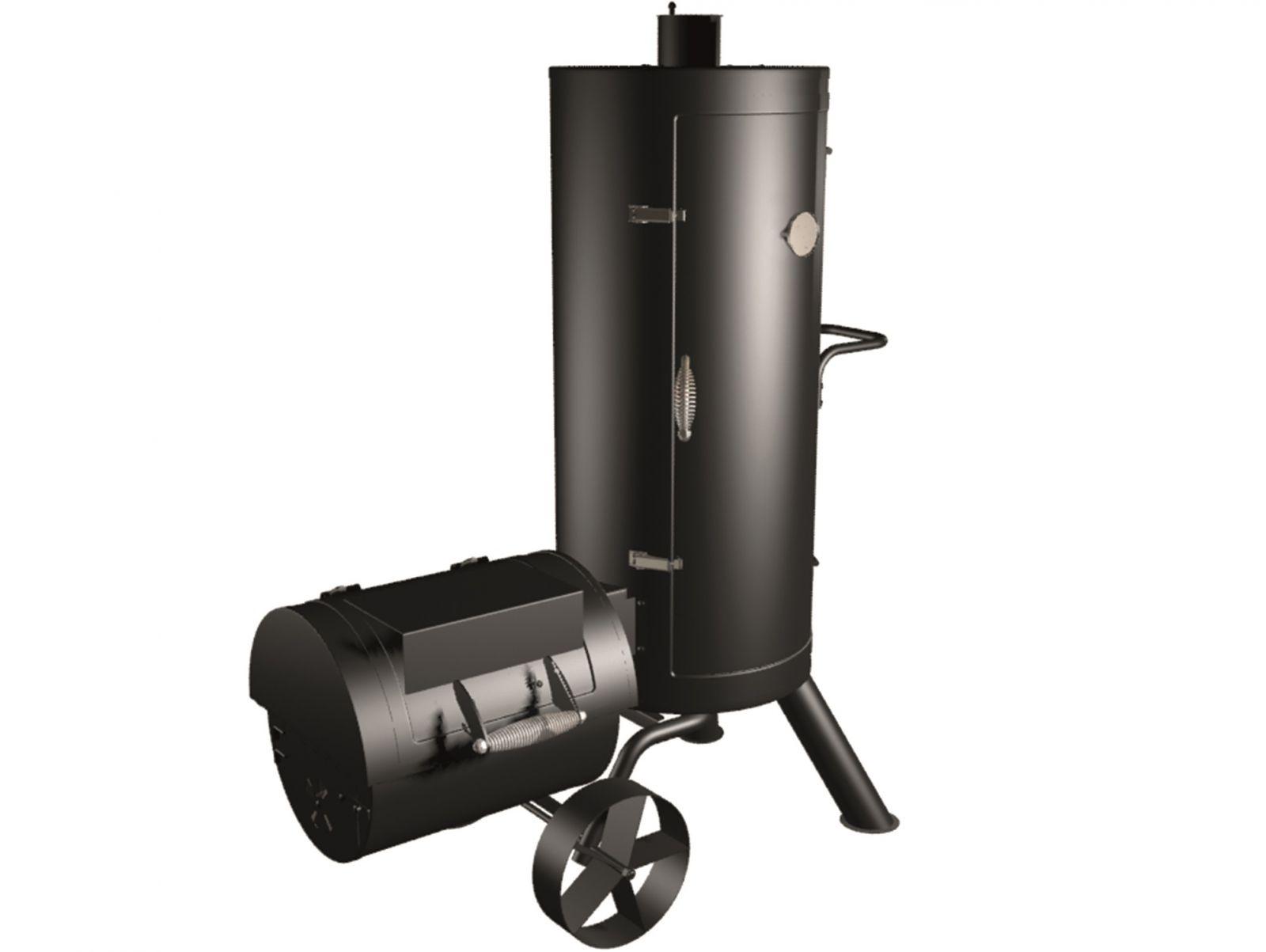 Zahradní gril na dřevěné uhlí s komínem - udírna TEPRO Fairfax 1104N - udírna 4 rošty pro uzení, boční komora 2 smaltové rošty, regulace vzduchu, 118,6 x 66,4 x 145,6 cm