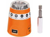 10-dílná sada bitů AEG s magnetickým držákem bitů v praktickém boxu