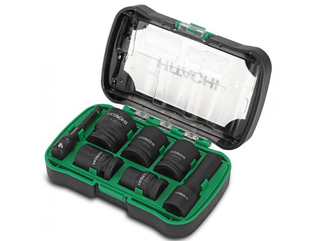 """7-dílná sada nástrčných klíčů Hitachi 40018012 s adapterem 1/2""""a 1/4"""" + ořechy 13, 17, 19, 21, 24 mm (pro goly a rázové utahováky)"""