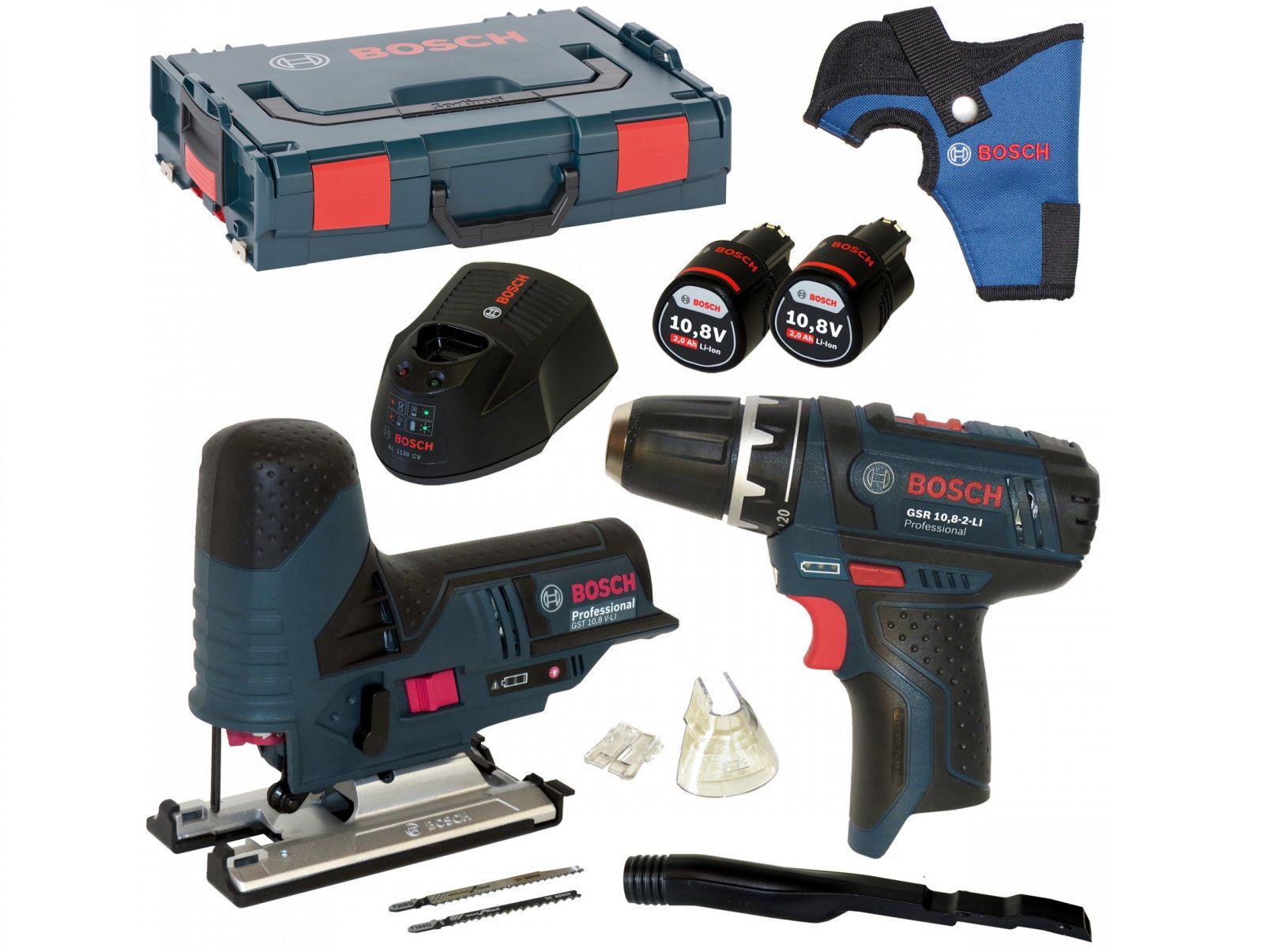 Aku vrtačka bez příklepu Bosch GSR 10,8-2-LI Professional + Aku přímočará pila Bosch GST 10,8 V-LI Professional, 2x aku 10.8V/2.0Ah (0615990G08)