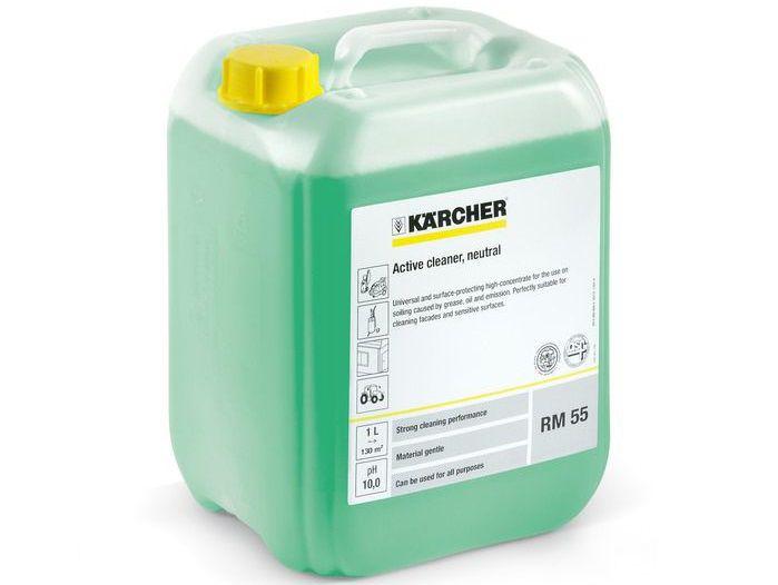 Univerzální čistící chemie - Aktivní čistič Kärcher RM 55 - 20l, neutrální, pro VT čističe, vhodný při silném znečištění tukem, olejem a emisemi, vynikající k čištění fasád a k čištění citlivých povrchů (6.295-411.0)