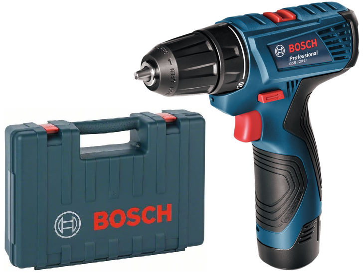 Bosch GSR 120-LI Professional aku vrtačka bez příklepu - 2x aku 12V/1.5Ah, 0.99kg, v kufru (06019F7001)