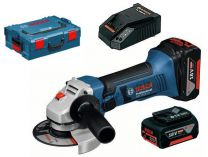 Bosch GWS 18-125V-LI Professional - 125mm, 2x 18V/4Ah, 2.3kg, L-Boxx, aku úhlová bruska