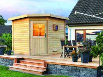 Venkovní finská sauna - Saunový domek Karibu Kroge, rohový vstup, 38mm