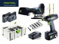 Sada aku nářadí Festool T 18+3/PSC 420 Li 5,2-Set - 2x 18V/5.2Ah, aku přímočará pila + akušroubovák