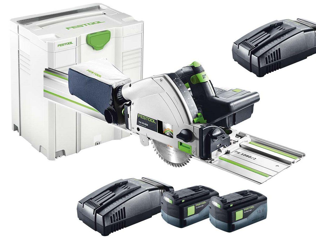 Festool TSC 55 Li 5,2 REB-Set/XL-FS aku ponorná pila 160mm, 2x aku 18V/5.2Ah, 2 x rychlonabíječka SCA 8, 5.3kg, kufr Systainer SYS 5 T-LOC, vodicí lišta FS 1400/2, kód 201402
