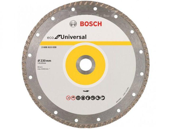 Univerzální diamantový kotouč Bosch Eco for Universal Turbo 230 x 22,23 x 3,0 x 7.0 mm na beton, cihly, vápenopískové cihly (kód 2608615039) Bosch příslušenství
