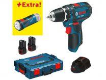 Zobrazit detail - Bosch GSR 10,8-2-LI + GLI PocketLED Professional - 2x 2.0Ah, aku vrtačka bez příklepu + aku svítilna