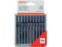 Bosch Sada 10 ks pilových plátků na DŘEVO s T stopkou, pilové plátky do kmitací pily