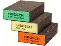 3 dílná sada abrazivních brusných houbiček Bosch S471: 69x97x26mm, zr. střední / jemné / velmi jemné