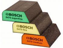 3 dílná sada abrazivních brusných houbiček Bosch 69x97x26mm, zr. střední / jemné / velmi jemné