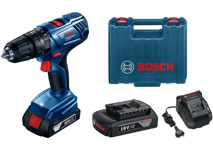 Bosch GSB 180-LI Professional aku vrtačka s příklepem - 2x aku 18V/1.5Ah, 54Nm, v kufru (06019F8300) Bosch PROFI