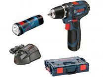 Sada aku nářadí 12V: Bosch GSR 12V-15 + Bosch GLI 12V-80, 2x aku 12V, nabíječka, kufr L-BOXX