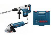 Bourací kladivo Bosch GSH 5 CE Professional, kufr + Úhlová bruska Bosch Professional GWS 850 C
