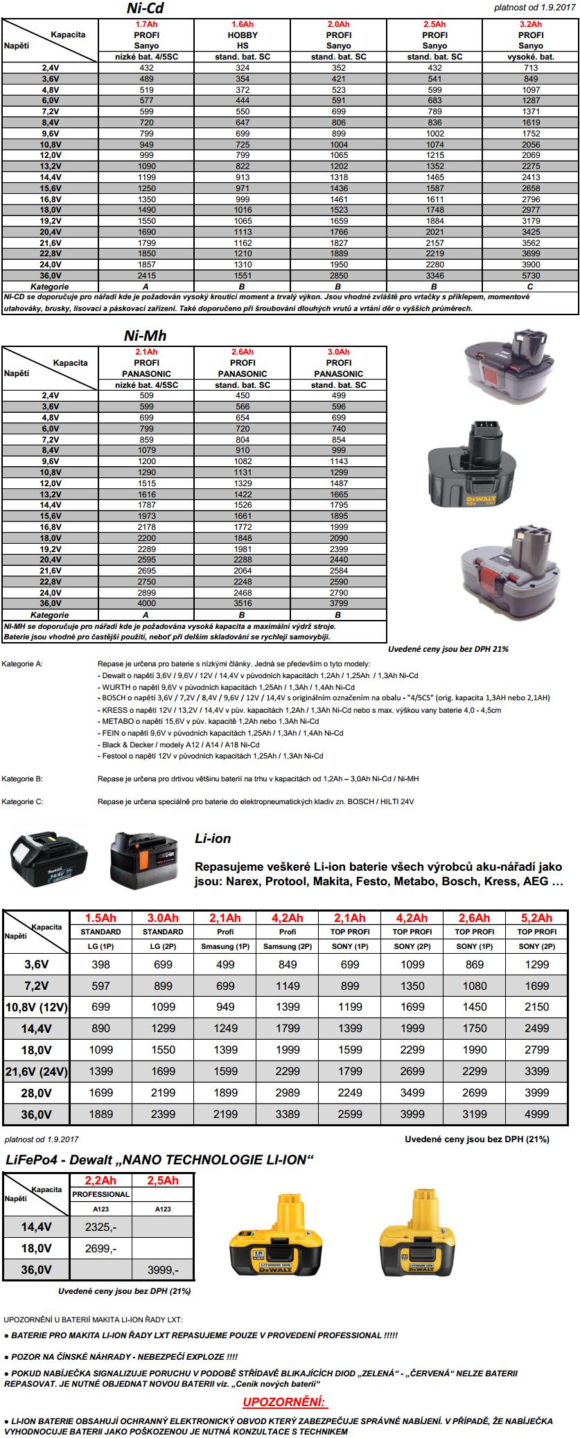 Repase akumulátorů kompletní nabídka